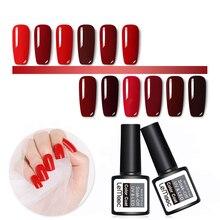 LEMOOC 8ML Wine Red Color Series UV Gel Nail Polish Soak off Long-lasting 12 Colors DIY Lacquer