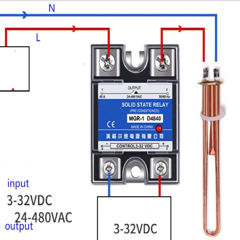 Relé de estado sólido Single-fase 220 v ssr-40da MGR-1 D4810 D4825 D4840 D4860 40a Dc controle ac frete grátis