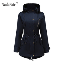Nadafair Plain Zipper Hooded Trench Women Autumn Winter Long Coat Pocket Outerwear Plus Size Slim Overcoat Hooded Coat For Femme