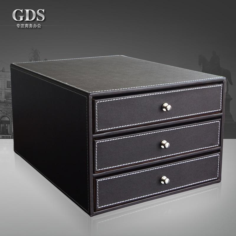 Pitebo 3 Drawer Layer Wood Structure Leather Desk Filing Cabinet File Doent Holder Organizer Storage Box Brown