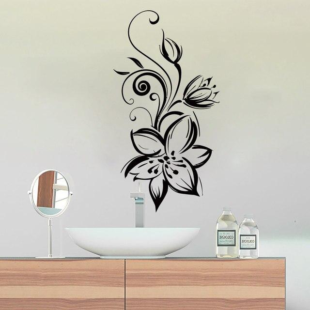 Wunderbare Blumen Silhouette Design Waschraum Badezimmer Poster Abnehmbare  Klebstoffe Wand Murals Decals Vinyl Aufkleber Decor S