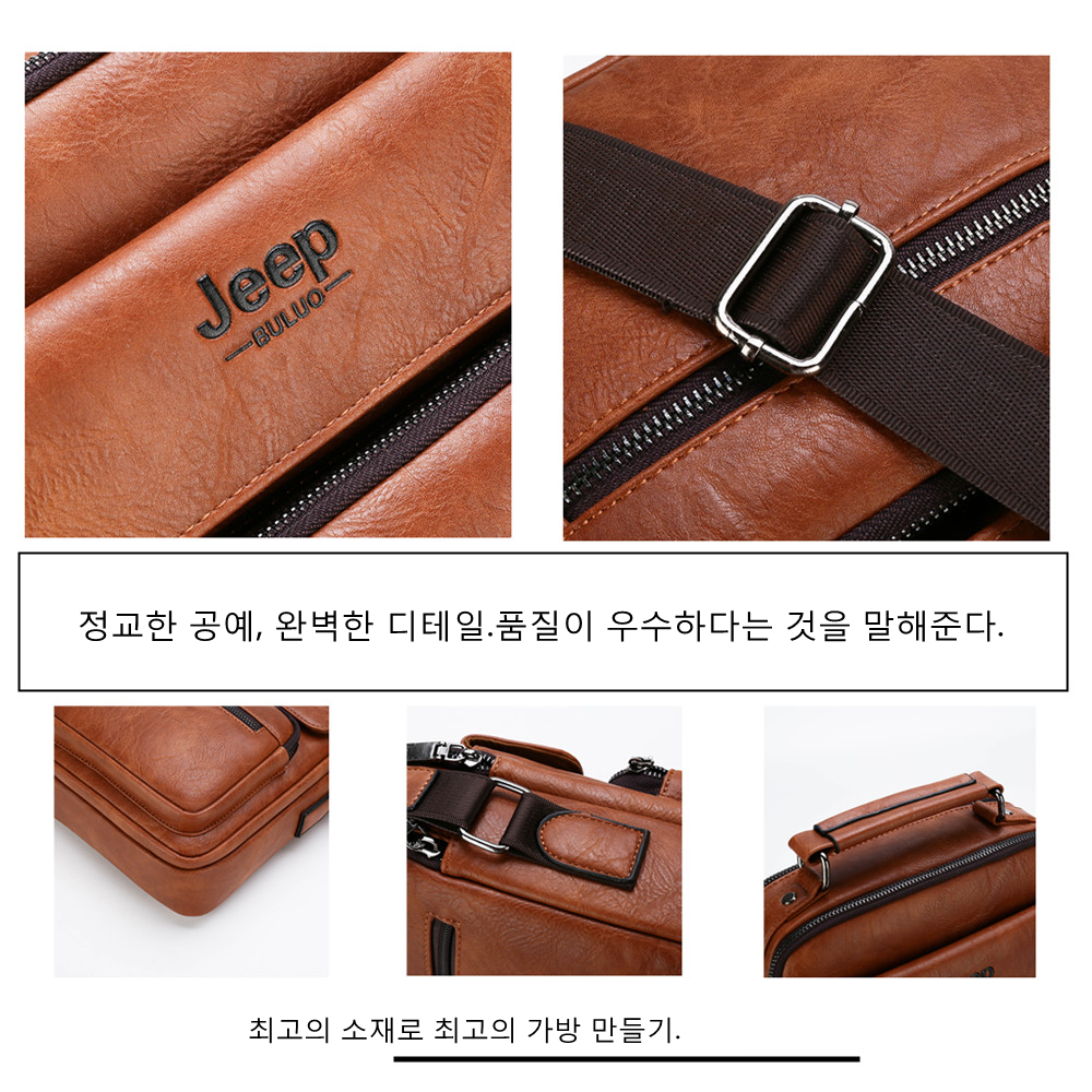 Image 4 - JEEP BULUO Brand Man Leather Crossbody Shoulder Messenger Bag For  9.7 inch iPad Casual Business Big Size Mens Handbags Famous  -