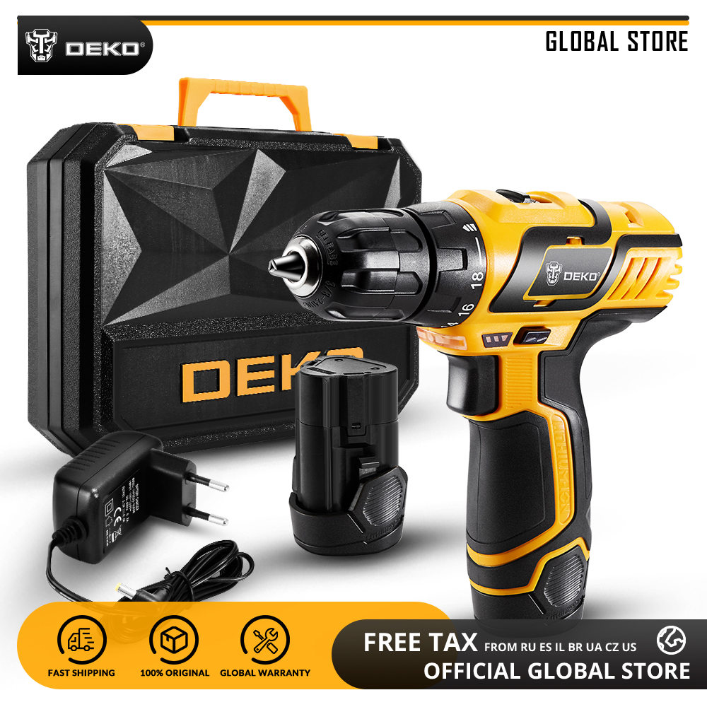 DEKO GCD10 8DU3 10 8V Lithium Battery Electric Screwdriver Variable Speed Cordless Drill with LED Light