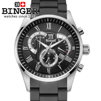 Sale Shipping Men's Sport Utility Chronograph 12 Colors Binger Top Brand Lot Dress Watch relogios masculino waterproof coupon