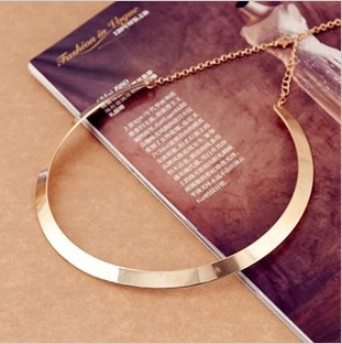 Fashion Making simple shape metal texture collar nes