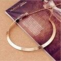 Moda Making forma simple textura del metal del collar (versión estrecha de oro) 2017 Nuevo collar de La Joyería X107