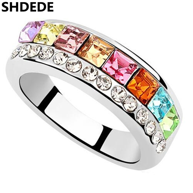 shdede charm jewelry fashion accessories for women luxury crystal from swarovski wedding engagement rings 8361 - Swarovski Wedding Rings