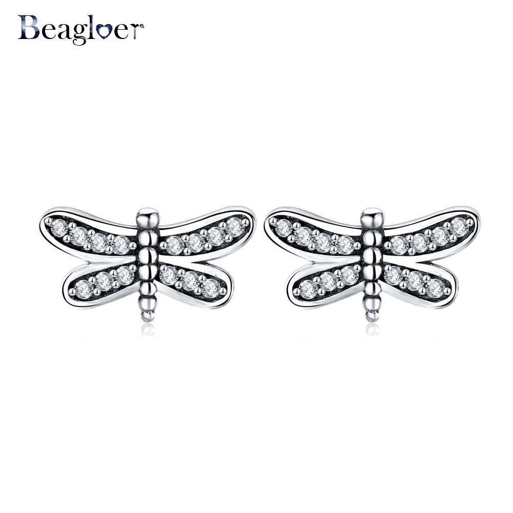 Beagloer Presents 2017 Fashion Petite Dragonfly Stud Earrings CZ Clear Compatible with Jewelry Special Store CER0566-B ...