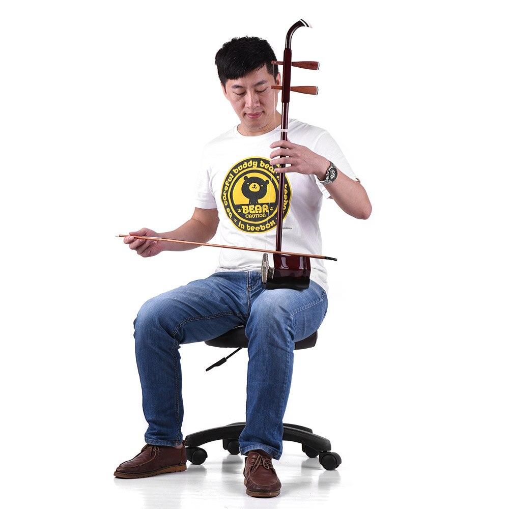 Bois massif Erhu chinois violon à 2 cordes violon Instrument de musique à cordes café foncé - 4