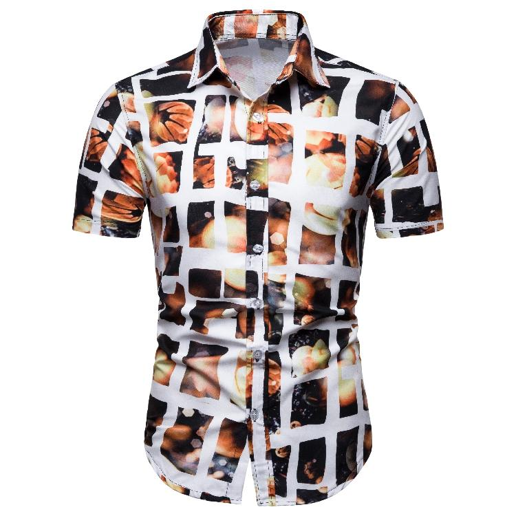 Plaid Floral Mens Shirts Clothing Casual Shirt Summer Loose Blouse