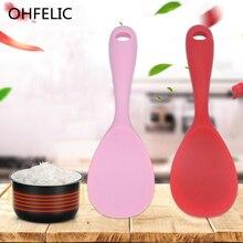 Пищевой термостойкий силиконовый рисовый Совок с антипригарным покрытием, кухонные инструменты, красные, оранжевые, розовые ложки, термостойкая ложка, Миксер для салата