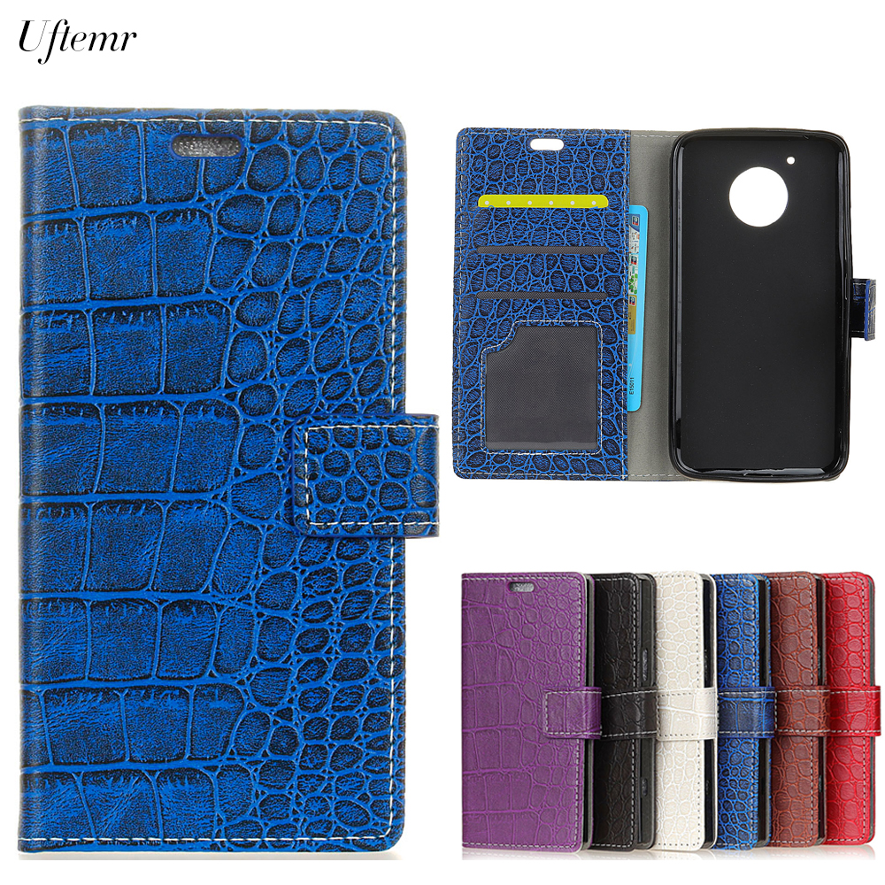 Uftemr Vintage Crocodile PU Leather Cover For Moto E4 US Version Protective Silicone Case Wallet Card Slot Phone Acessories