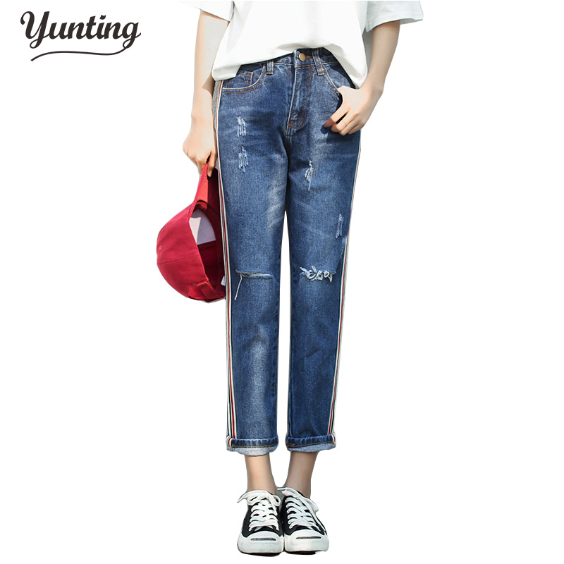 2017 Blue Mid Waist Jeans Woman Loose Holes stripe Jeans For Women Straight Jeans For Women Elastic Blue Ripped Jeans