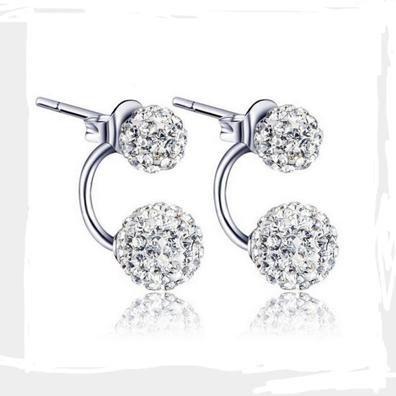 2016 New Fashion Shambhala Double Face Synthetic Crystal Ball Stud Earrings for Women Wedding Jewelry Gift Wholesale E33 E42