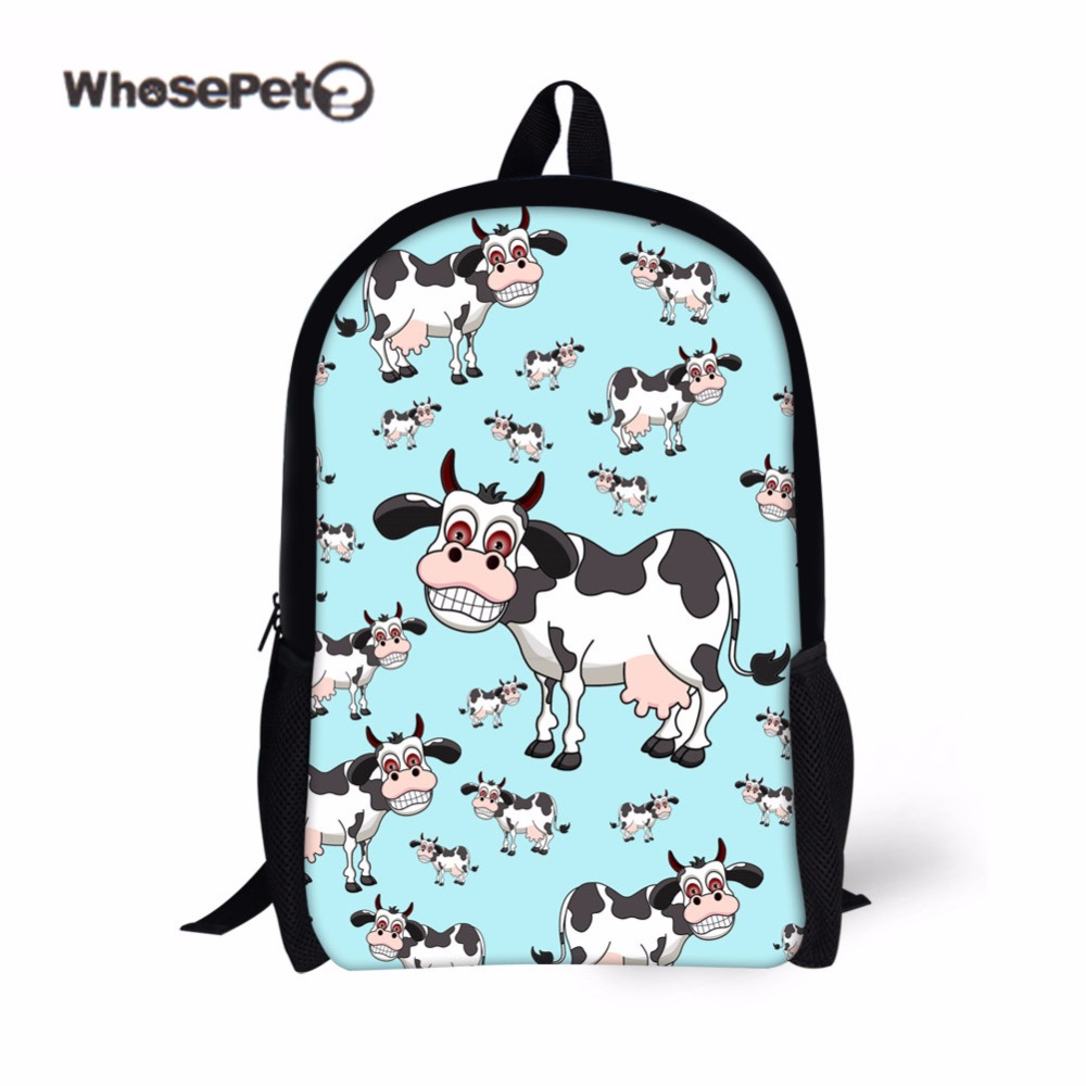 WHOSEPET Cows Printing Cute Schoolbag for Primary Student New Bookbag for Girls Females Travel Satchel Shoulder Bags Kawaii Dog