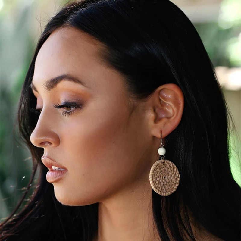 ฤดูร้อนโบฮีเมีย Handmade ไม้ไผ่ Braid จี้ Drop ต่างหูเรขาคณิตหวายถักไม้ Dangle ต่างหูเครื่องประดับ Brincos สำหรับผู้หญิง