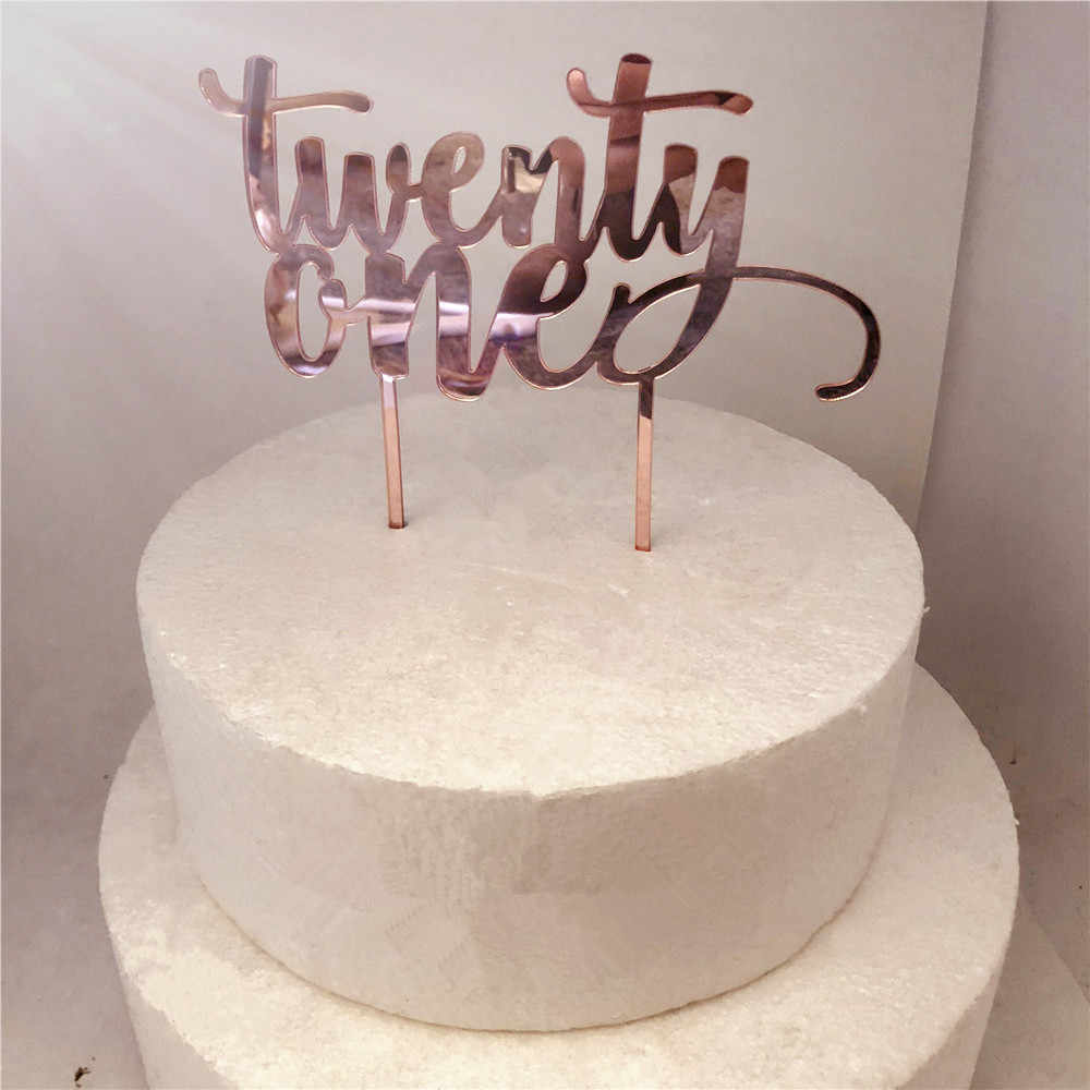 Rose Gold Twenty One 21st Birthday Cake Decoration Accessory Romantic Party Topper Supplies