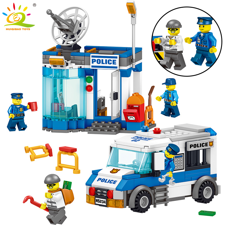 316pcs Police Station Command Center car Building Blocks Compatible Legoed city figures Educational bricks children toys for boy 519pcs city police station building blocks action figures set transform robot compatible with 60047 for kid gift