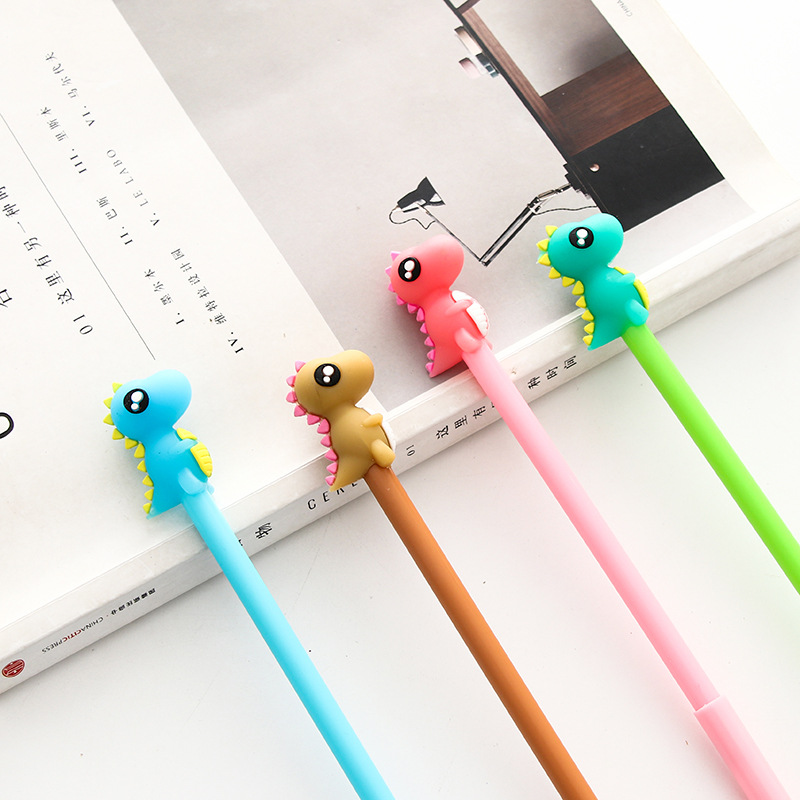0.5mm Black Ink Durable Service Cute Dinosaur Lovely Pens School Promotion Free Gifts Stationery 4pcs/lot Cartoon Kids Writing Gel Pen