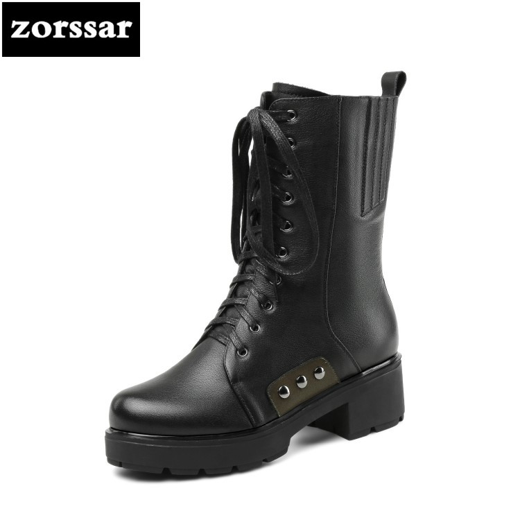 {Zorssar} Real Leather heels Women Ankle Boots Soft Leather Thick high Heels Motorcycle Boots Winter women Boots Warm Fur Shoes hongyi women motorcycle biker ankle boots glossy leather rhinestone crystal ridding bootie bow butterfly knot shoes thick heels