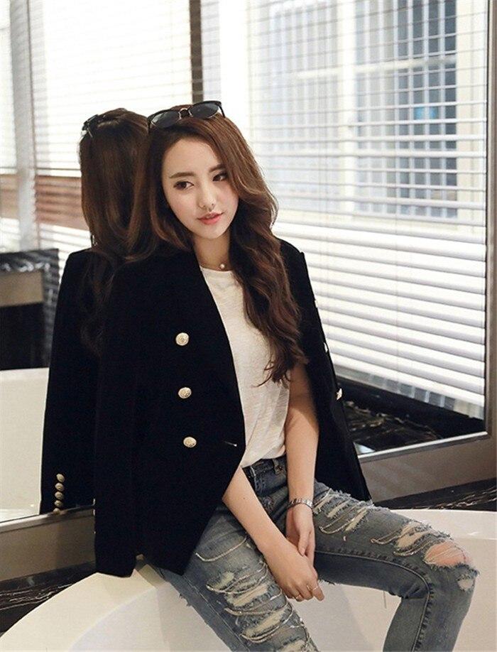 2016 New Spring Fashion Women Midnight Navy Slim Velvet Blazer Jacket Double Breasted simple Lady Blazers  (19)