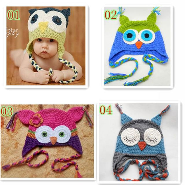 1X Handmake Baby Hat Owls Toddlers Beanie Crochet Knit Woolly Cap Earflap  Hat 4 Colors Unisex Kids Caps EB1136 9b4eb05a751