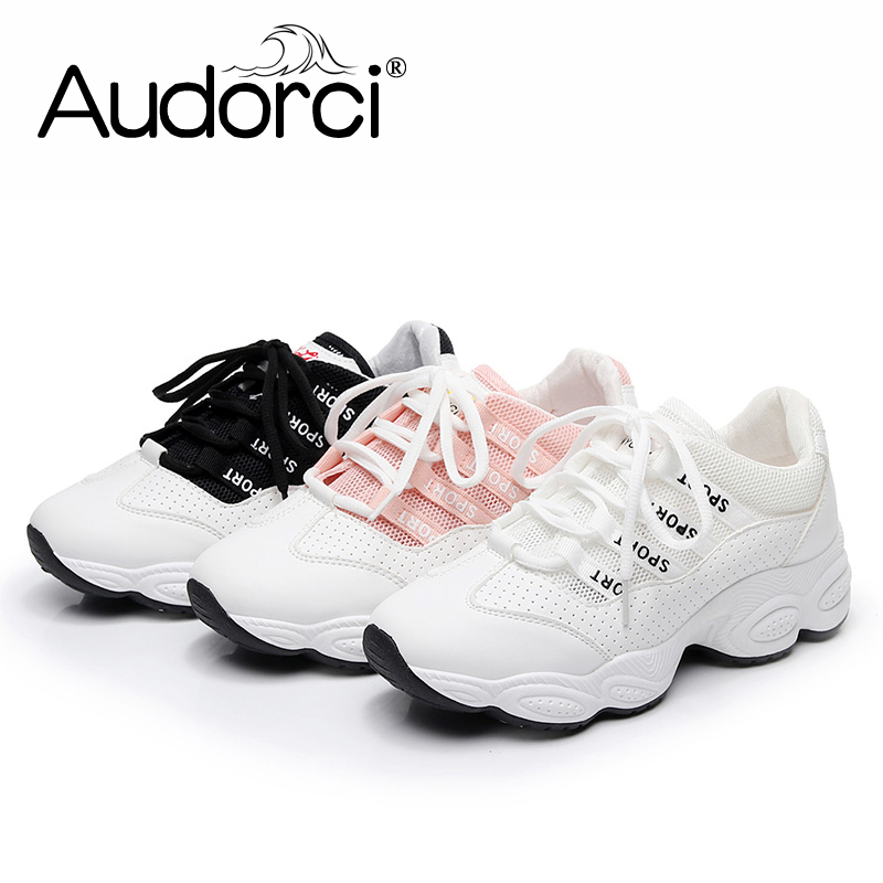 Audorci 2018 Summer Women Clunky Sneakers Woman Outdoor Lighweight Casual Sport Shoes Fashion Air Mesh Flats Shoe Size 35-40