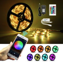 2018 150LEDS 5M RGB LED Strips 12V DC Waterproof Flexible Light Tape + WiFi Phone APP Remote Controller+ 3A Power Adapter