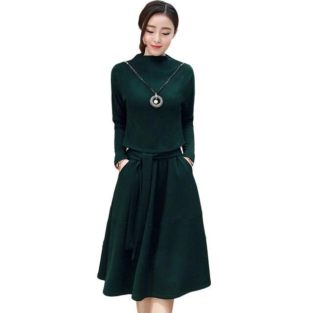 2017 Fall Fashion New Plus Size Dress Women Fake Two Pieces Thick