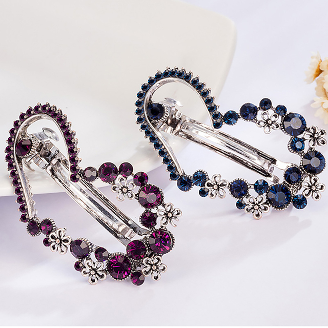 Vintage Heart Shaped Women's Rhinestone Hairpins