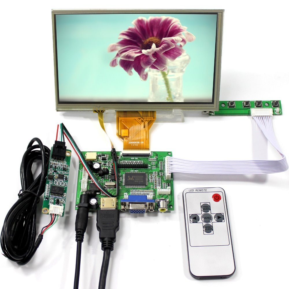HDMI VGA 2AV LCD Controller Board+7inch AT070TN90 800X480 LCD Screen With Touch Panel купить