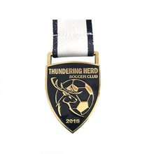 Zinc Alloy Plated Gold Custom Football Sports Award Medal with Sublimation Ribbon Lanyard