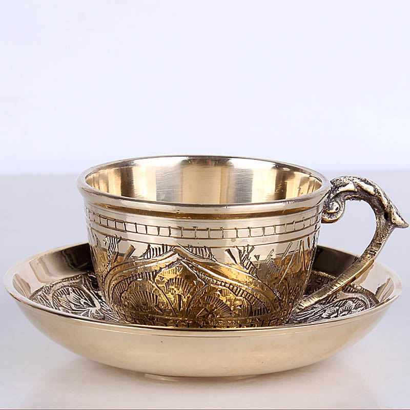 India Coffee Cups Saucer Sets handmade engraving brass Coffee cup Arabic Indian Copper Tea Cup with Pad Kitchen Gadget Drinkware cabeza de toro de colores