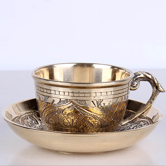 f62a2c20931 India Coffee Cups Saucer Sets handmade engraving brass Coffee cup Arabic  Indian Copper Tea Cup with Pad Kitchen Gadget Drinkware