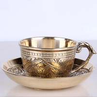 India Coffee Cups Saucer Sets handmade engraving brass Coffee cup Arabic Indian Copper Tea Cup with Pad Kitchen Gadget Drinkware