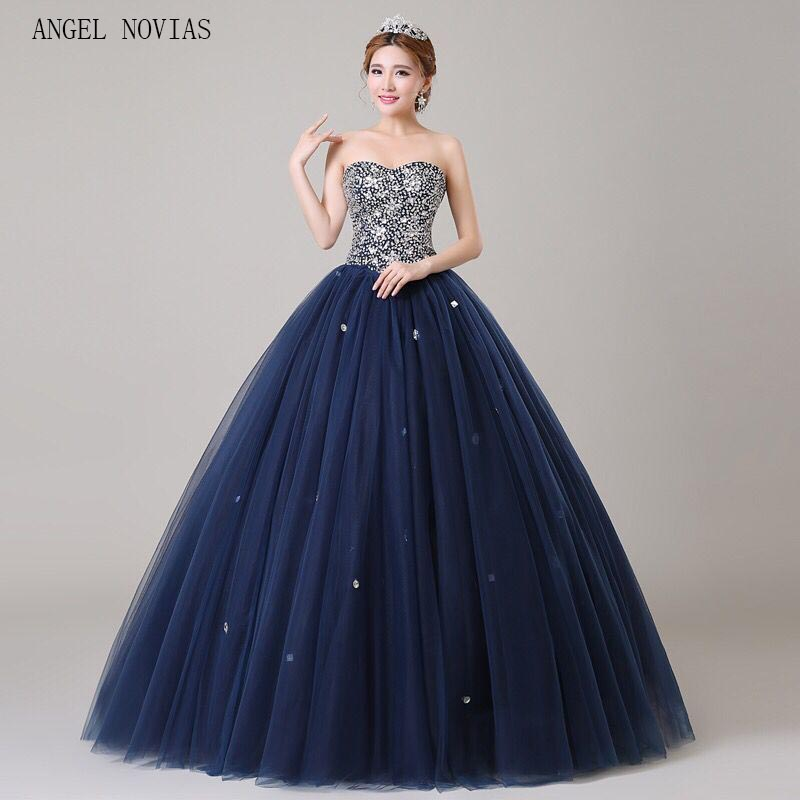 Angel Novias Long Ball Gown Puffy Plus Size Navy Blue Crystal Prom