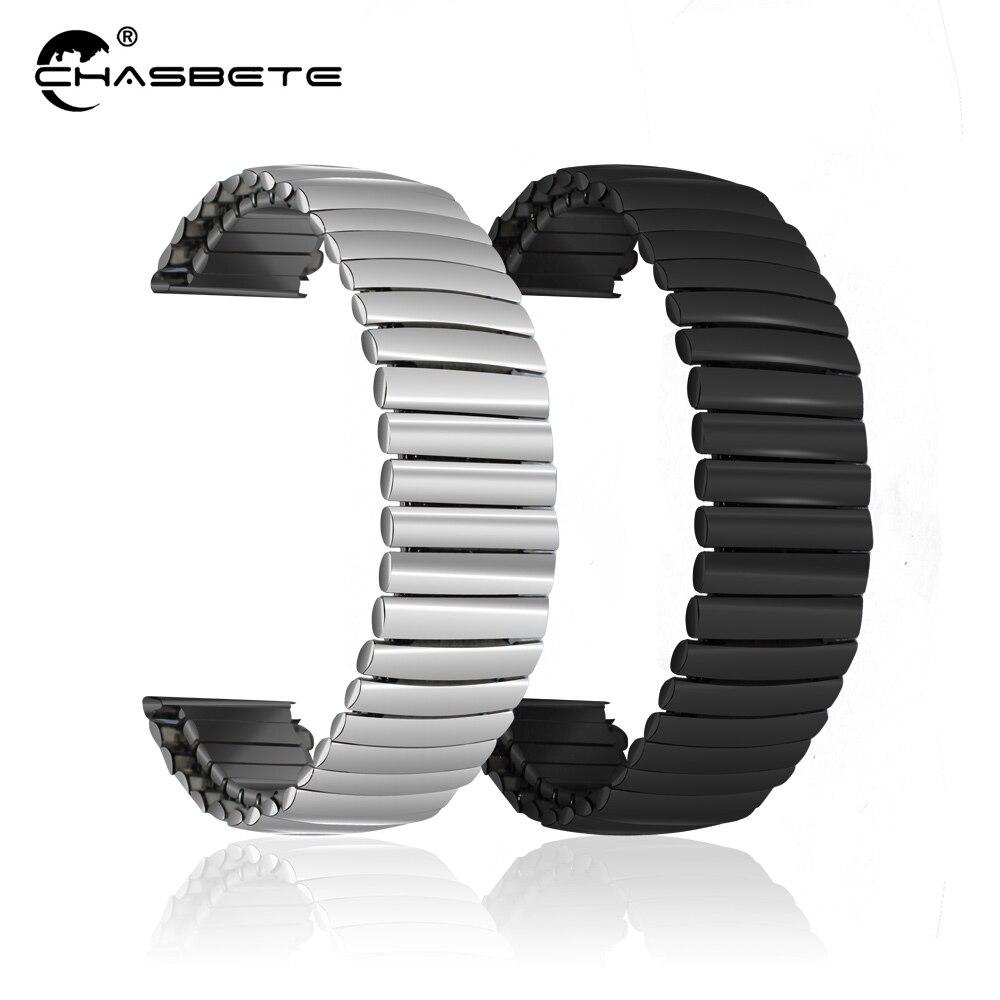 Bracelet de montre en acier inoxydable 12mm 14mm 16mm 18mm 20mm 22mm 24mm Bracelet élastique boucle Bracelet d'expansion Bracelet extensible noir