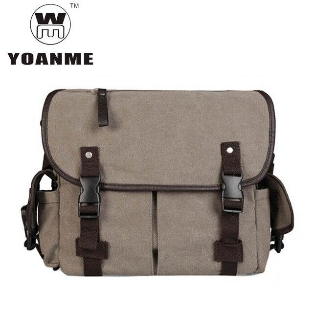 872c151b2158 YOANME Canvas Messenger Bag Vintage Military Style Shoulder Messenger Field  Bag Men Side Pockets Bag SY1386