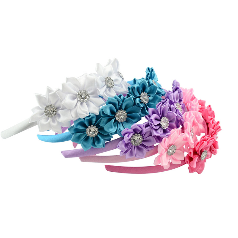 Handmade Satin Ribbon Flowers with Rhinestones Headbands Hair Hoop Girls Head Band Children Hair Accessories