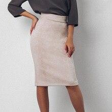 Women Skirts Summer Plus Size Knee-Length Pencil Skirt Female Vintage Suede Split Skirts Jupe Femme Faldas Mujer Bodycon Work
