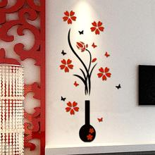 102*46CM DIY Vase Flower Tree Arcylic 3D Wall Stickers Decal Home Decor baby room wallpaper for kids room free shipping
