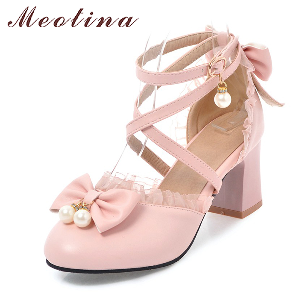 Meotina High Heels 2018 Women Shoes Ankle Strap Pumps Spring Bow Pearls Lace Shoes Thick High Heels Party Shoes Big Size 43 44 meotina high heels shoes women pumps party shoes fashion thick high heels pointed toe flock ladies shoes gray plus size 10 40 43