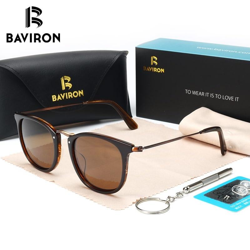 e08fd1e6c7d BAVIRON New Arrival Plate Sunglasses Unisex Hand Making Retro Sun Glasses  Smooth Acetate Polarized Glasses Popular