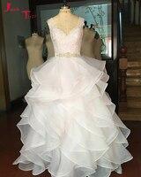 Jark Tozr Robe De Noiva Col V Perles Ceintures Ruches Jupe Blanc Organza De Luxe robe de Bal Robes De Mariée 2018 Plus La Taille