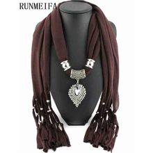 [RUNMEIFA] 2018 Lureme New Fashion Design Jewelry Oval Diamond Pendant Scarf Women Winter Cotton Jersey Scarves Necklace Scarf