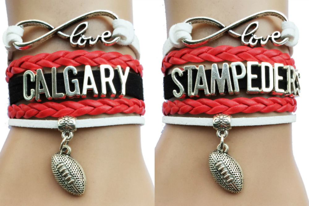 Drop Shipping Infinity Love Calgary Stampeders Canada Football Bracelet- Custom Teams Sports Fans Club Leather Wrap Charm