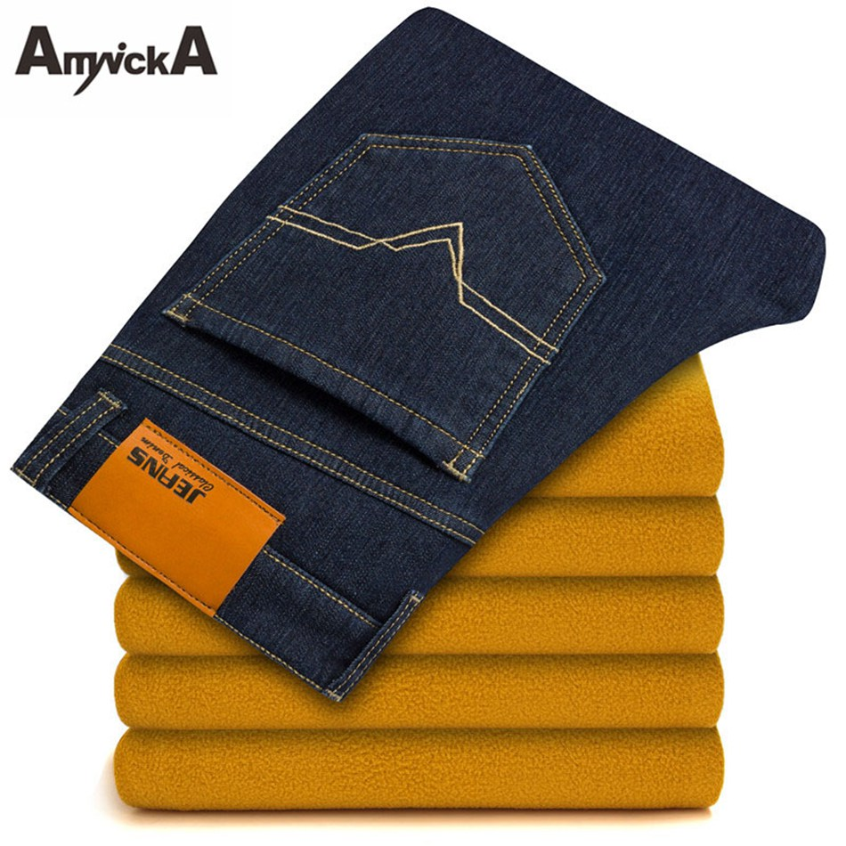 AmynickA Fleece Jeans For Men Straight Thicker Warm Denim Jeans Male Boys Washed Thermal Casual Jeans Blue Size 28-40 EKN3082 envmenst 2017 male floral bottom blue hole ankle length jeans men s jeans casual zipper straight denim trousers size 28 40