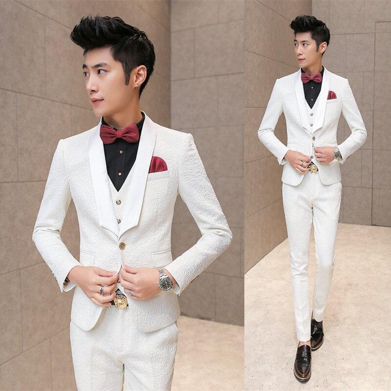 84691a3c7812 White Wedding Tuxedos For Men 2016 Brand Pressing Rose Print Elegant  Vintage Suits Men Slim Fit Prom Groom Suit Jacket+Vest+Pant-in Suits from  Men's ...