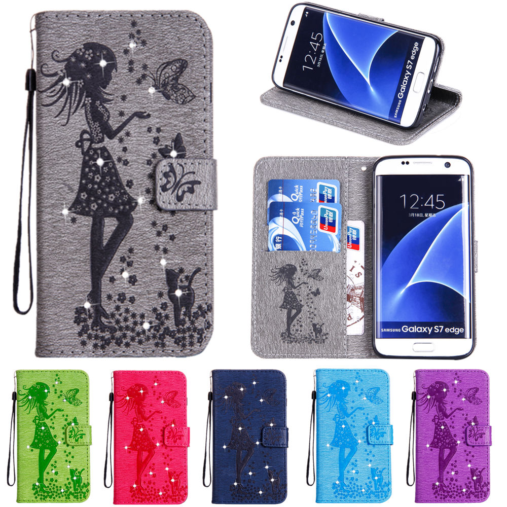 A3 A5 A7 2017 J1 J3 J5 J7 2016 J2 J7 Prime Girl Leather Flip Cover Wallet Case for Samsung Galaxy S8 S3 S4 S5 S6 S7 edge Cases