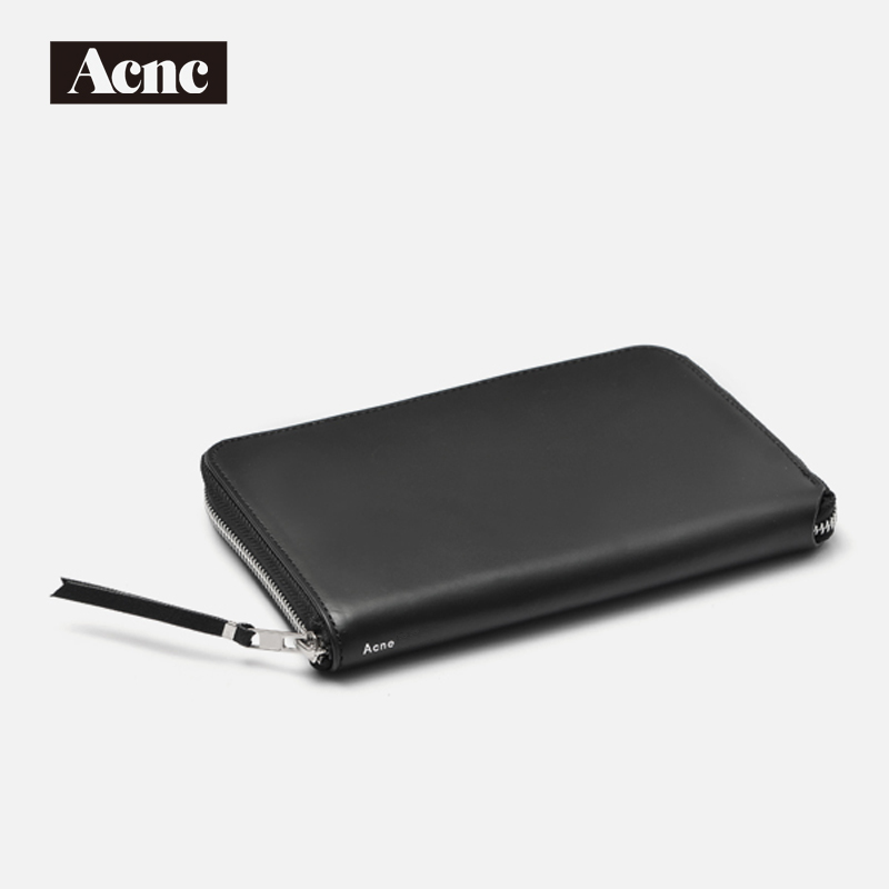 NEW Acne Unisex genuine leather large wallet,women standard Passport wallet,men real leather long purse,free shipping yuanyu 2018 new hot free shipping real thai crocodile women clutches dinner long women wallet large capacity women bag